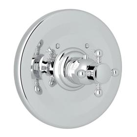 Thermostatic Trim Plate without Volume Control - Polished Chrome with Cross Handle