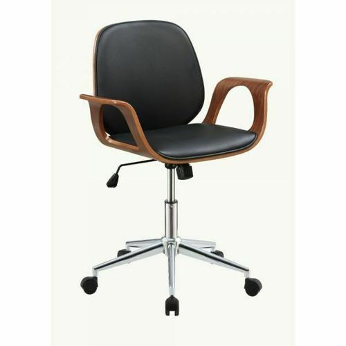 ACME Camila Office Chair - 92419 - Black PU & Walnut