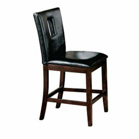 ACME Danville Counter Height Chair (Set-2) - 16775 - Black PU & Walnut