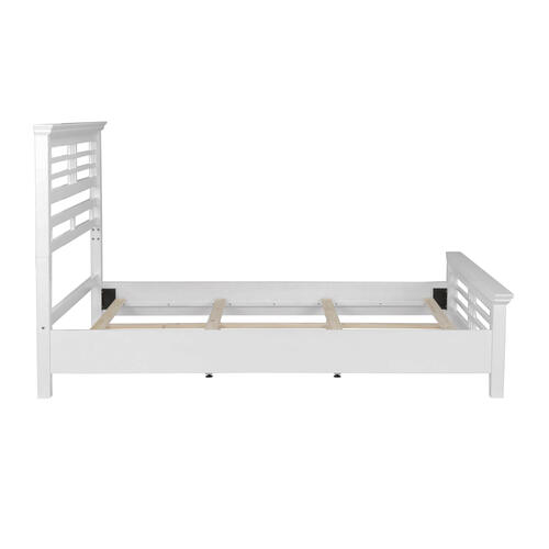 Avery Complete Wood Bed and Bedding Support System with Mission Style Design, Cottage White Finish, King
