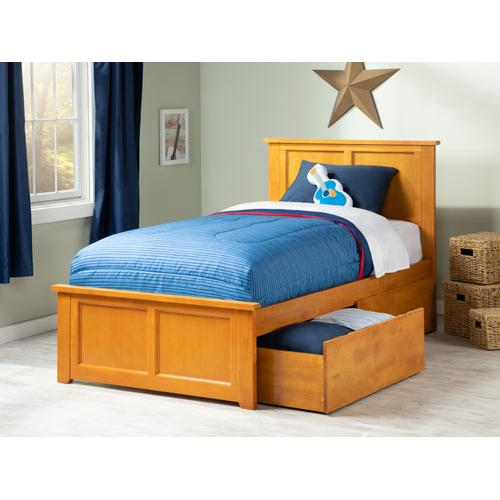 Madison Twin XL Bed with Matching Foot Board with 2 Urban Bed Drawers in Caramel Latte