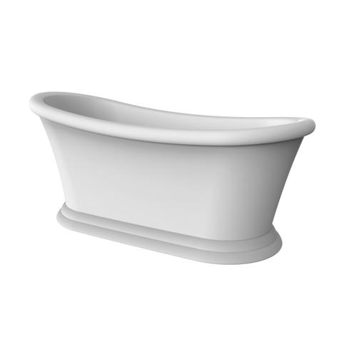 """Product Image - Mallory 68"""" Acrylic Slipper Tub with Integrated Drain and Overflow - Matte Black Drain and Overflow"""