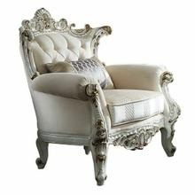 ACME Picardy II Chair w/1 Pillow - 53462 - Fabric & Antique Pearl