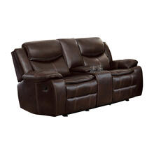 See Details - Double Glider Reclining Love Seat with Center Console