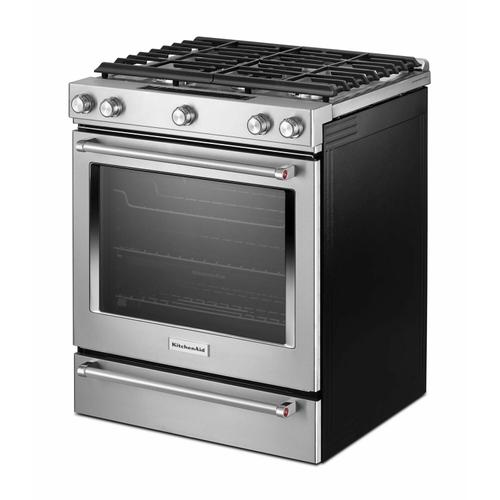 KitchenAid - 30-Inch 5 Burner Gas Convection Slide-In Range with Baking Drawer - Stainless Steel