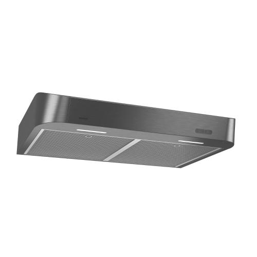 Broan® 30-Inch Convertible Under-Cabinet Range Hood w/ Easy Install System, 250 CFM, Black Stainless