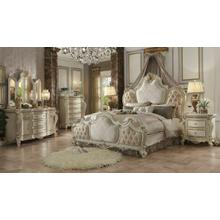ACME Picardy Queen Bed - 26880Q - Fabric & Antique Pearl