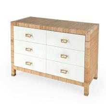 See Details - Bring warmth, brightness, and a whole lot of texture to your bedroom or guestroom with this stunning Corfu 6 Drawer Raffia Dresser. With 6 felt-lined drawers on metal glides and 3/4 extensinon, it offers ample strorage for all your possessions. The crisp white drawer fronts adorned with gold square drawer pulls gives a pop of modern while the natural rattan is meticulously handwrapped around the wood frame to give it texture and dimension that fits within many aesthetics.