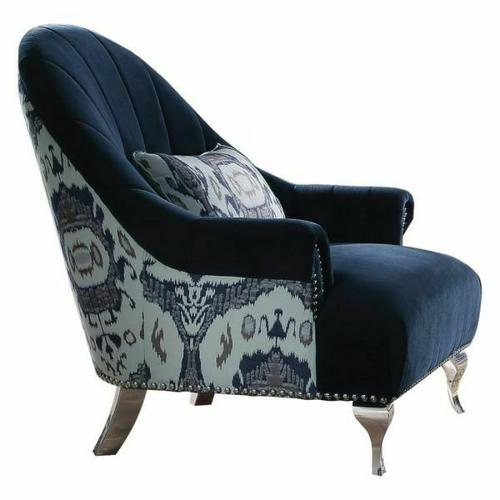 ACME Jaborosa Chair w/1 Pillow - 50347 - Blue Velvet