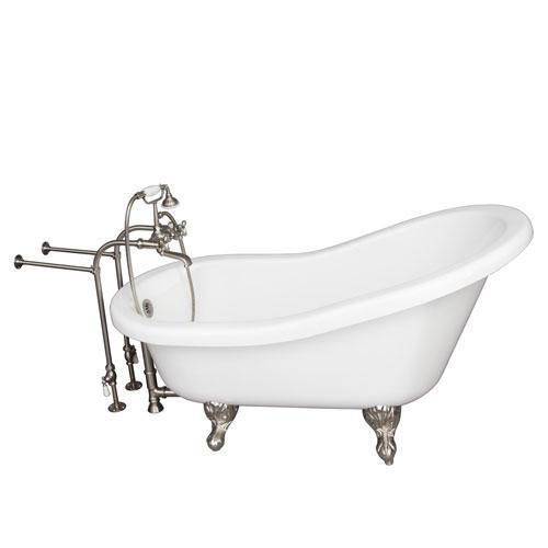 "Fillmore 60"" Acrylic Slipper Tub Kit in White - Brushed Nickel Accessories"