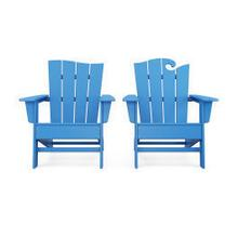 View Product - Wave 2-Piece Adirondack Set with The Wave Chair Left in Pacific Blue