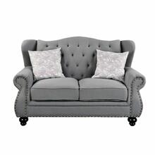 ACME Hannes Loveseat w/2 Pillows - 53281 - Traditional - Fabric, Frame: Wood (Pine+Ply), Foam (D); Wood Leg - Gray Fabric