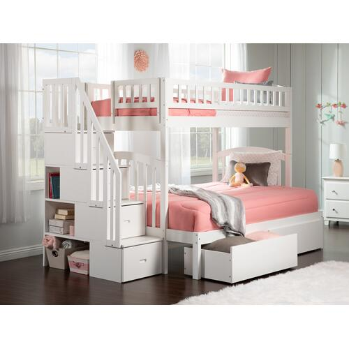 Atlantic Furniture - Westbrook Staircase Bunk Bed Twin over Full with Urban Bed Drawers in White