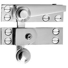 "Antique Brass Unlacquered Straight arm sash fastener with lock, 2 3/4"""