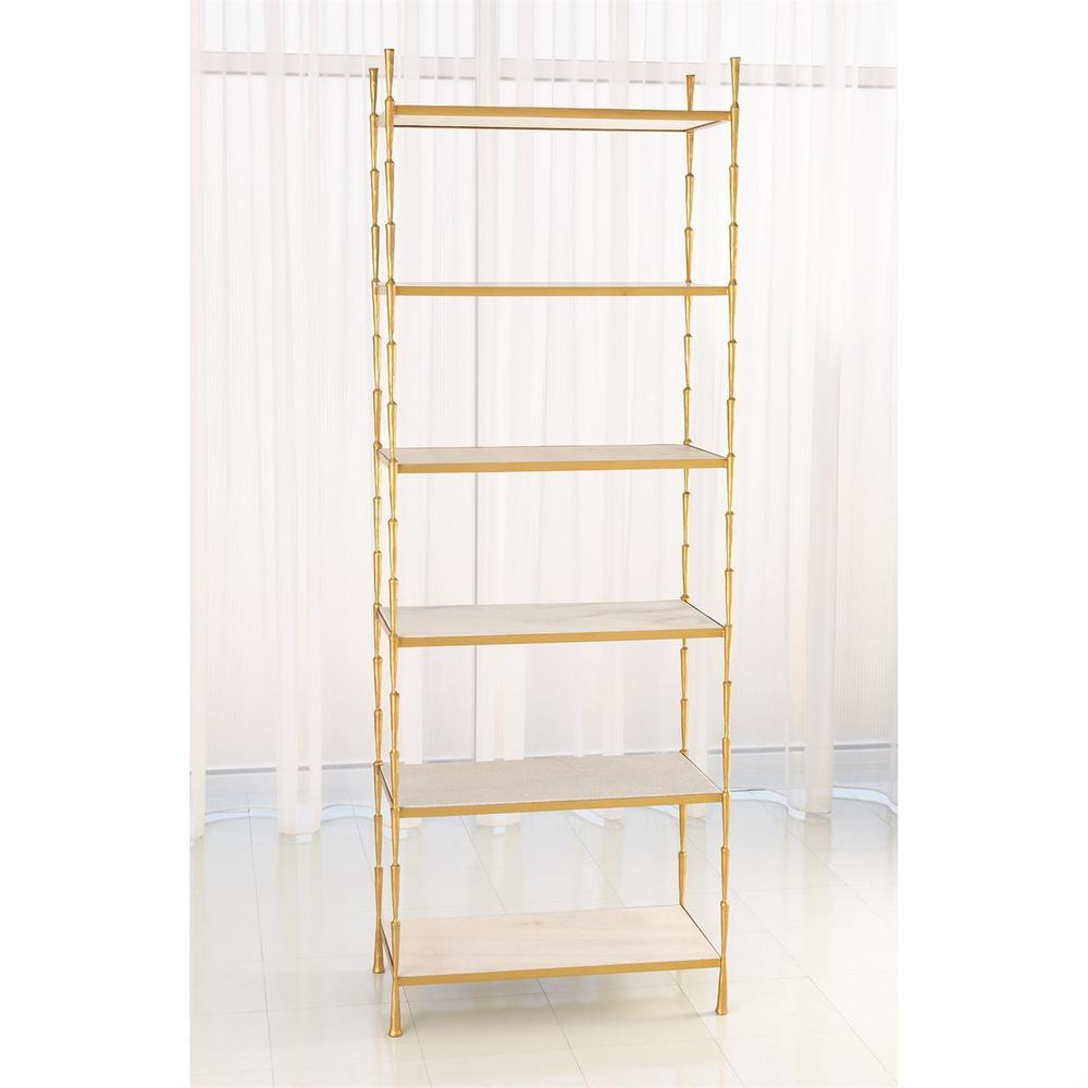 See Details - Spike Etagere-Antique Brass w/White Marble