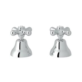 Verona Deck Mount Set of Hot and Cold 1/2 Inch Sidevalves - Polished Chrome with Cross Handle