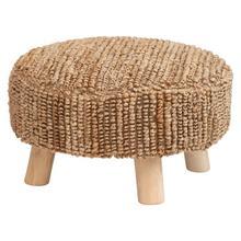 "Product Image - 24"" Round x 13""H Woven Jute Stool w/ Mango Wood Legs"