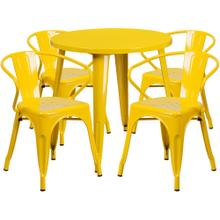 30'' Round Yellow Metal Indoor-Outdoor Table Set with 4 Arm Chairs