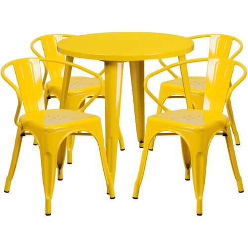 Alamont Furniture - 30'' Round Yellow Metal Indoor-Outdoor Table Set with 4 Arm Chairs