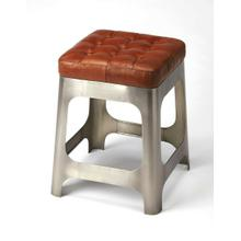 See Details - At 20 high, this stool great addition to the kitchen, a rustic vanity or seating area. The long Iron legs support a genuine brown leather button tufted seat. Pull up a seat and have a chat!