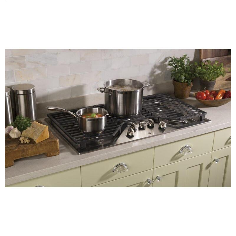 "GE® 36"" Built-In Gas Cooktop with 5 Burners and Dishwasher Safe Grates"