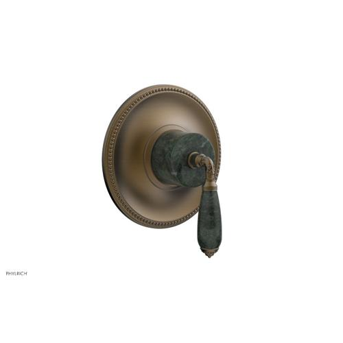 Phylrich - VALENCIA - Thermostatic Shower Trim, Green Marble Lever Handle TH338F - Old English Brass