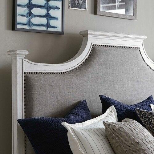 Full/Aged Whitestone Bella Upholstered Panel Bed