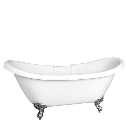 "Meilyn 63"" Acrylic Double Slipper Tub - Tap Deck - 7"" Rim Holes / Brushed Nickel"