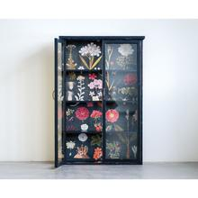 """See Details - 31-3/4""""L x 8-1/2""""W x 48""""H Wood Cabinet w/ Floral Papered Back, Black"""