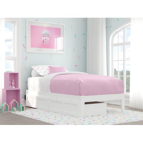 Colorado Twin Bed with USB Turbo Charger and 2 Drawers in White