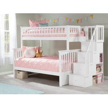 View Product - Columbia Staircase Bunk Bed Twin over Full in White