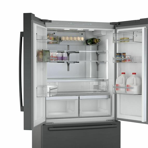 Bosch - 800 Series French Door Bottom Mount Refrigerator 36'' Black stainless steel B36CT80SNB