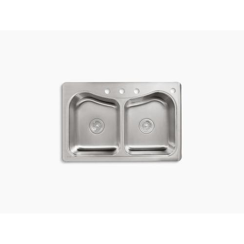 """33"""" X 22"""" X 8-5/16"""" Top-mount Double-equal Bowl Kitchen Sink With 4 Faucet Holes"""