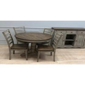 Solid Wood Table w/Light Grey Finish & Rustic Brown