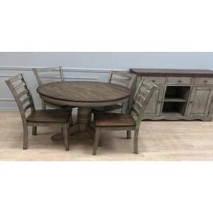 All Wood Furniture - Solid Wood Table w/Light Grey Finish & Rustic Brown