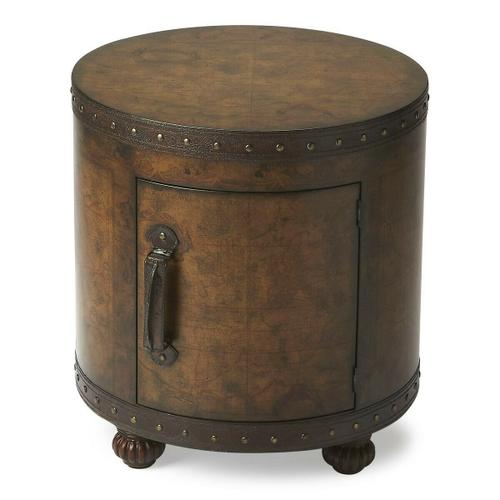 Butler Specialty Company - Laminated old world map surface with glaze and lacquer. Storage area with leather handle.