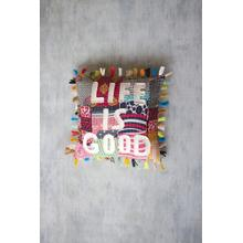 See Details - life is good kantha pillow