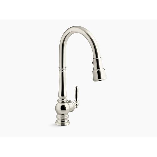 Vibrant Polished Nickel Kitchen Sink Faucet With Kohler Konnect and Voice-activated Technology