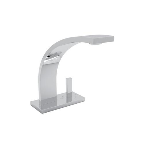 Polished Chrome Wave High Neck Single Lever Deck Mount Lavatory Faucet with Wave Metal Lever