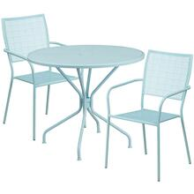 35.25'' Round Sky Blue Indoor-Outdoor Steel Patio Table Set with 2 Square Back Chairs