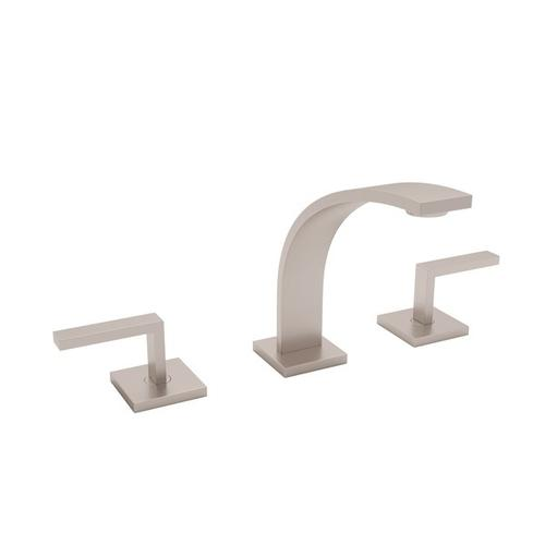 Satin Nickel Wave High Neck Widespread Lavatory Faucet with Wave Metal Lever