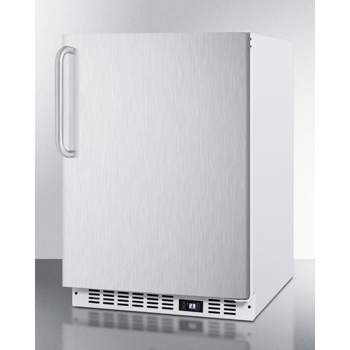 Frost-free Built-in Undercounter All-freezer for Residential or Commercial Use, With Stainless Steel Door, Towel Bar Handle, and White Cabinet