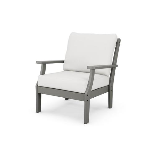 Slate Grey & Textured Linen Braxton Deep Seating Chair