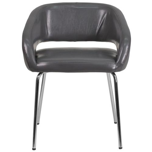 Contemporary Gray Leather Side Reception Chair