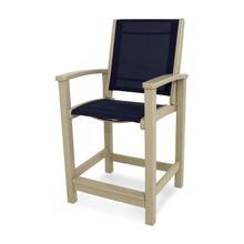 Sand & Navy Blue Coastal Counter Chair
