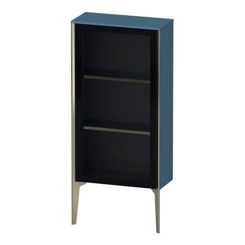 Duravit - Semi-tall Cabinet With Mirror Door Floorstanding, Stone Blue High Gloss (lacquer)