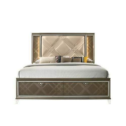 ACME Skylar Queen Bed (Storage & LED) - 25320Q - Glam, Contemporary - PU, LED, Wood (Rbw), Paper Veneer (PU), MDF, PB, Acrylic Leg - LED, PU and Dark Champagne