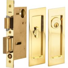 Pocket Door Lock with Modern Rectangular Trim featuring Turnpiece and Keyed Entry. in (US3A Polished Brass, Unlacquered)