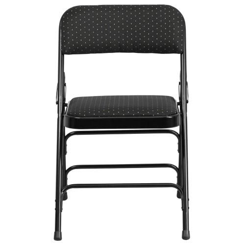Curved Triple Braced & Double-Hinged Black Patterned Fabric Metal Folding Chair