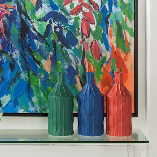 Howard Elliott - Coral Red Ribbed Ceramic Bottle